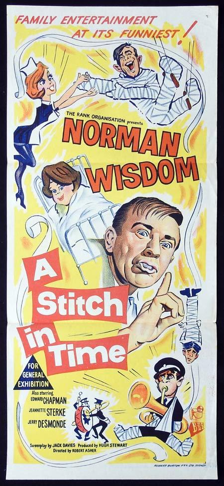 A STITCH IN TIME Original Daybill Movie Poster Norman Wisdom Edward Chapman