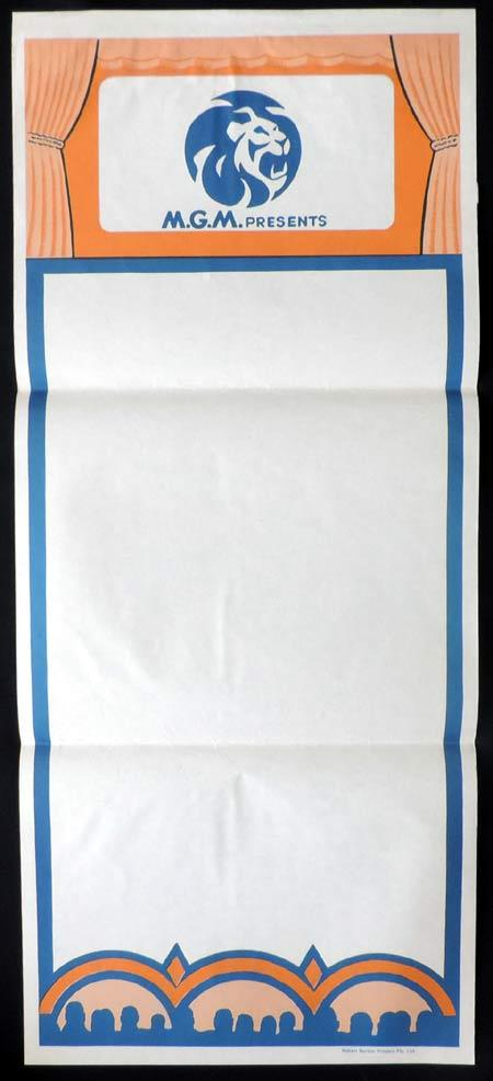 MGM Pictures STOCK Blank Daybill Movie poster 1960s