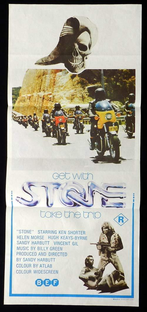 STONE Daybill Movie poster Sandy Harbutt MOTORCYCLE BIKER 1974