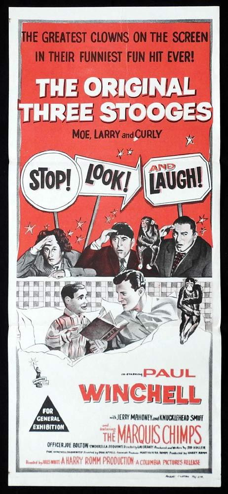 STOP LOOK AND LAUGH The Three Stooges Rare Daybill Movie poster Moe Larry Curly