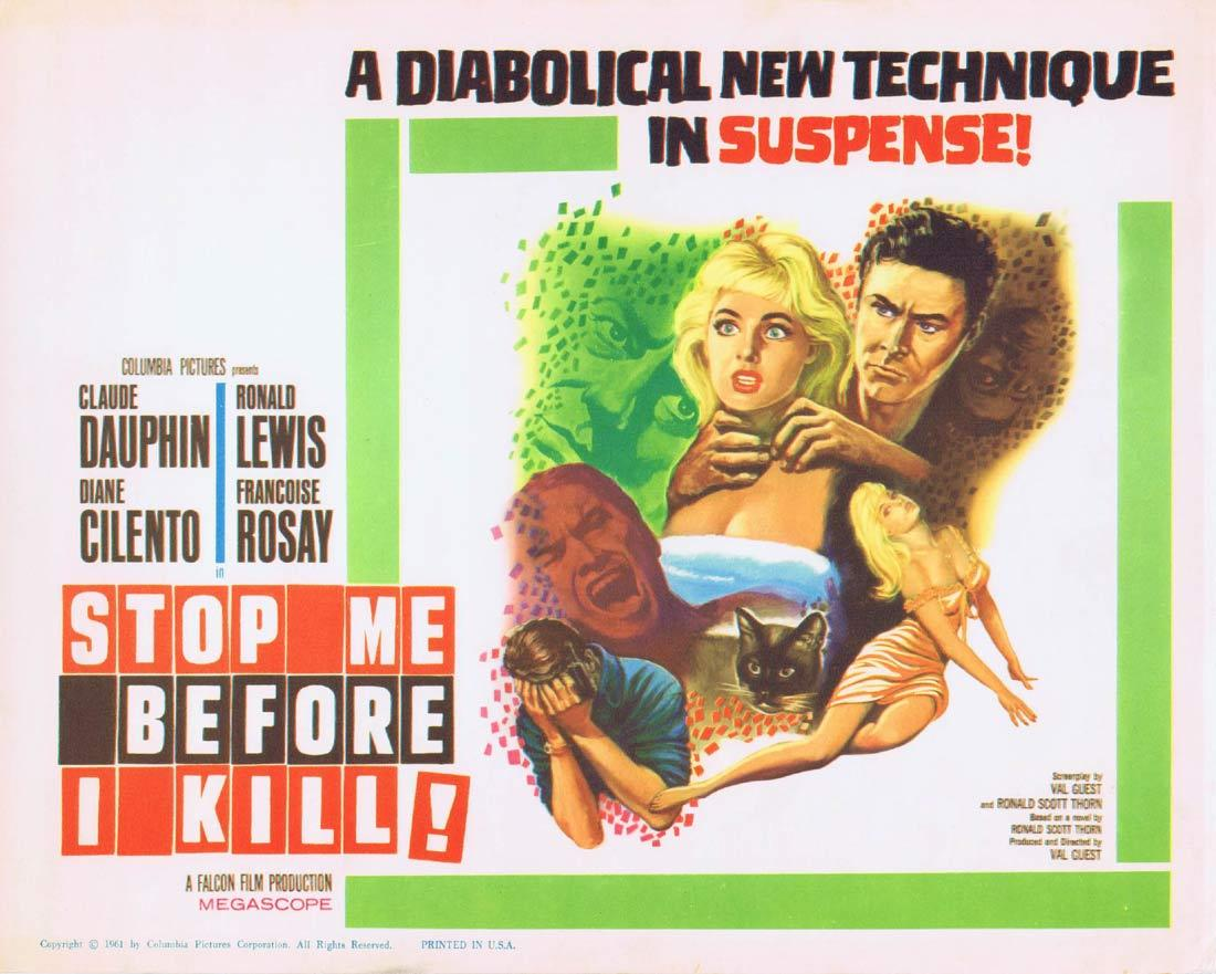 STOP ME BEFORE I KILL Title Lobby Card Dauphin Cilento Claude Dauphin Hammer