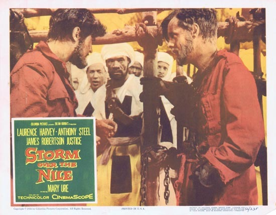 STORM OVER THE NILE Original Lobby card 3 1956 Anthony Steel Laurence Harvey