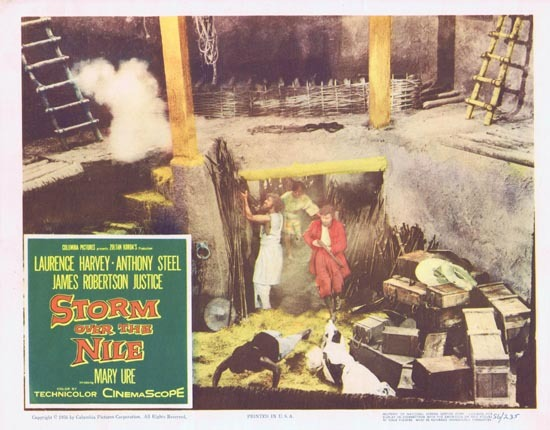 STORM OVER THE NILE Lobby card 4 1956 Anthony Steel Laurence Harvey