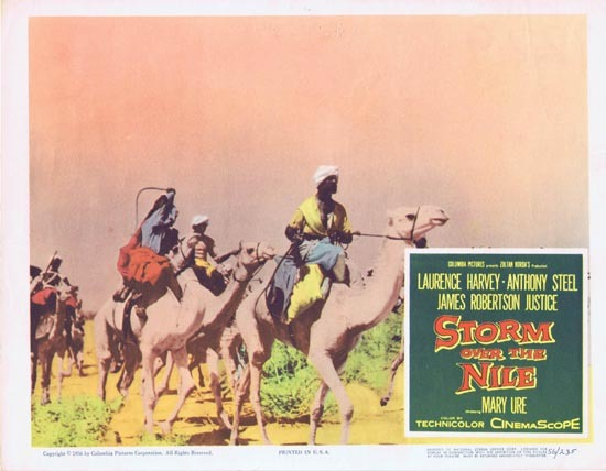 STORM OVER THE NILE Lobby card 6 1956 Anthony Steel Laurence Harvey