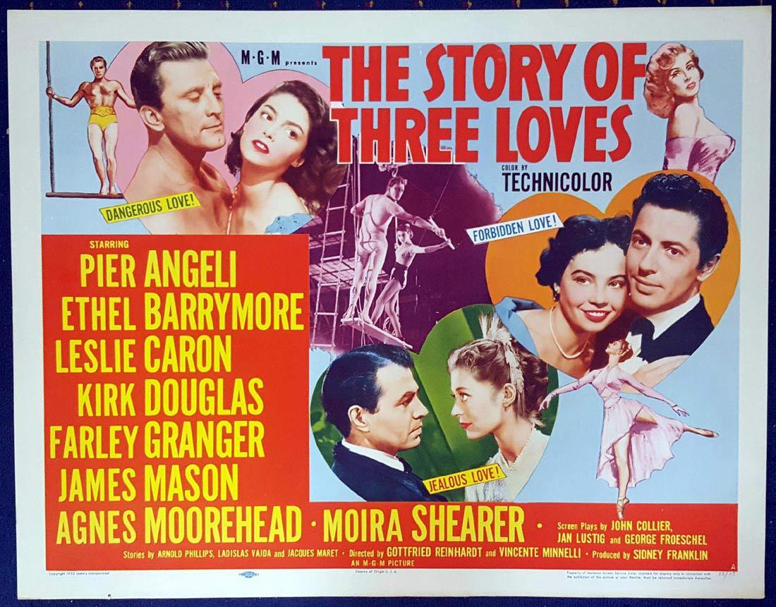 THE STORY OF THREE LOVES US Half sheet Movie poster Ethel Barrymore Leslie Caron Kirk Douglas