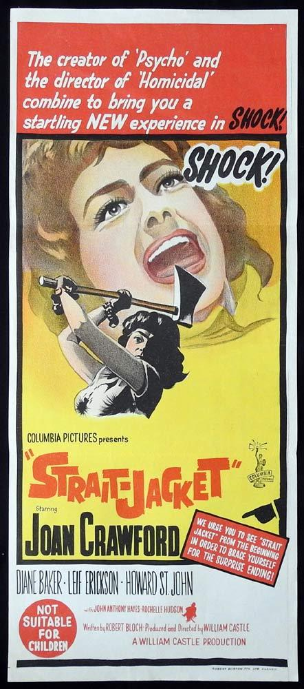 STRAIT JACKET Original Daybill Movie poster Joan Crawford Axe Murder