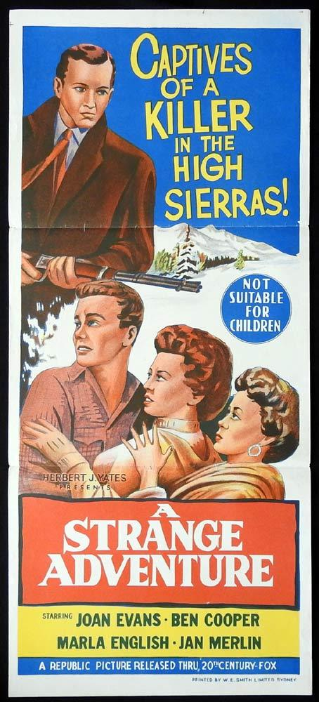 A STRANGE ADVENTURE Daybill Movie Poster Mamie Van Doren Joan Evans Film Noir
