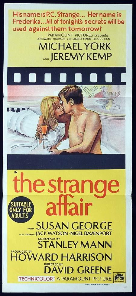 THE STRANGE AFFAIR Original Daybill Movie Poster Michael York Susan George