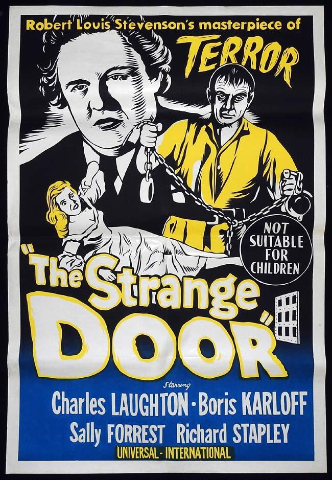THE STRANGE DOOR Original 1960sr One sheet Movie poster BORIS KARLOFF Charles Laughton
