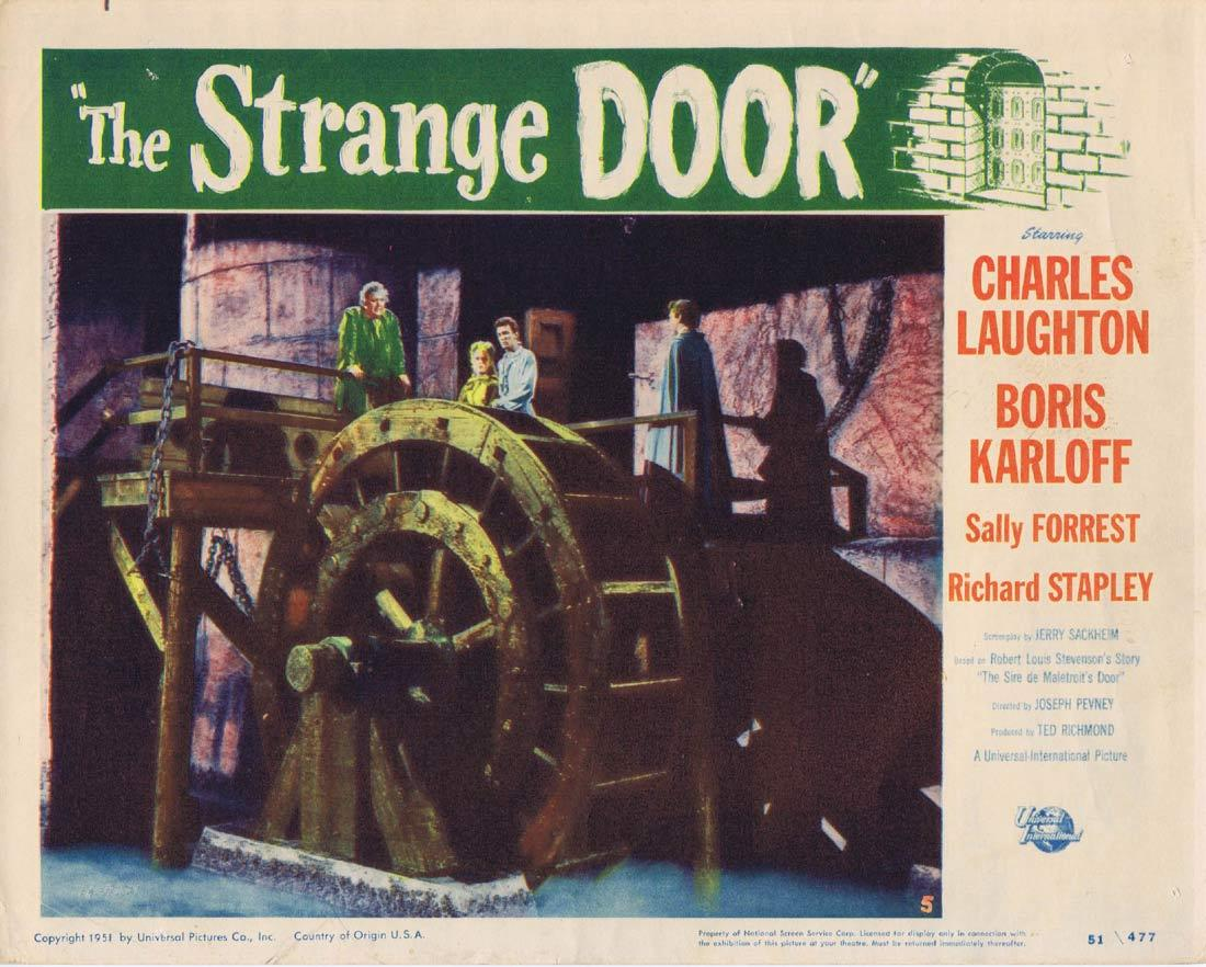 THE STRANGE DOOR Lobby Card 5 Charles Laughton Boris Karloff Sally Forrest