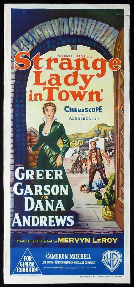 STRANGE LADY IN TOWN Original Daybill Movie Poster Greer Garson Dana Andrews