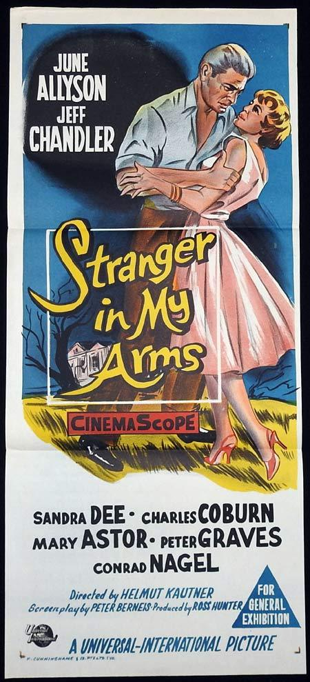 A STRANGER IN MY ARMS Original Daybill Movie poster June Allyson Jeff Chandler