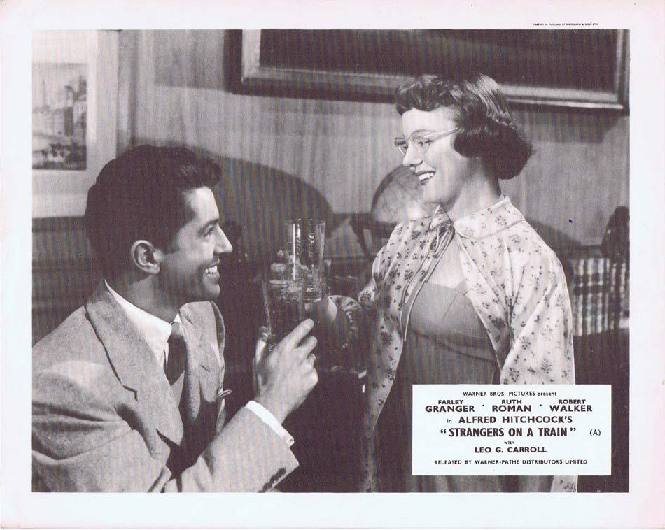 STRANGERS ON A TRAIN Front of House Movie Still 2 Alfred Hitchcock Farley Granger