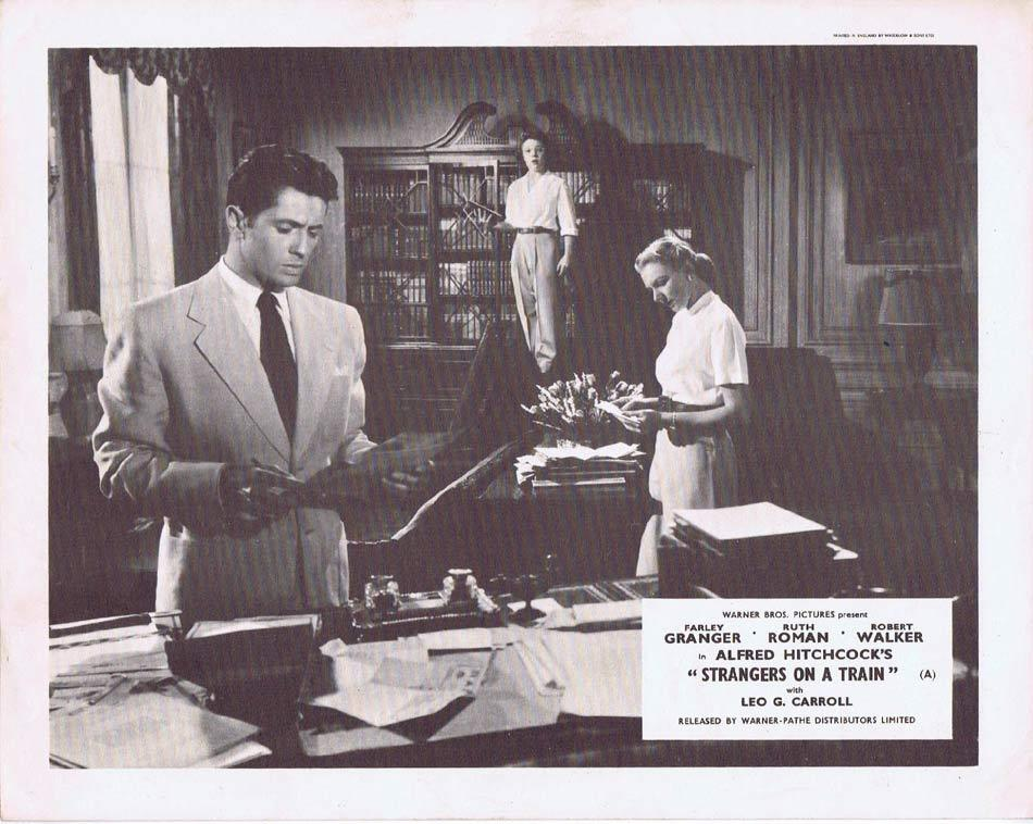 STRANGERS ON A TRAIN Front of House Movie Still 8 Alfred Hitchcock Farley Granger