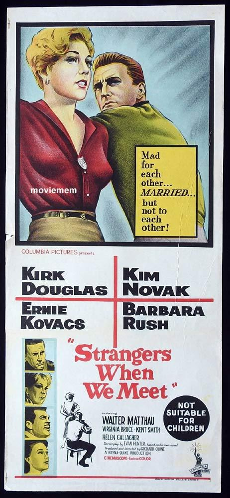 STRANGERS WHEN WE MEET Original Daybill Movie Poster Kirk Douglas Kim Novak