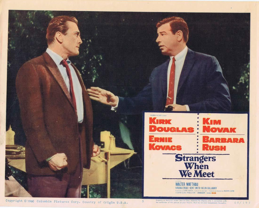 STRANGERS WHEN WE MEET Original Lobby Card 5 Kirk Douglas Kim Novak