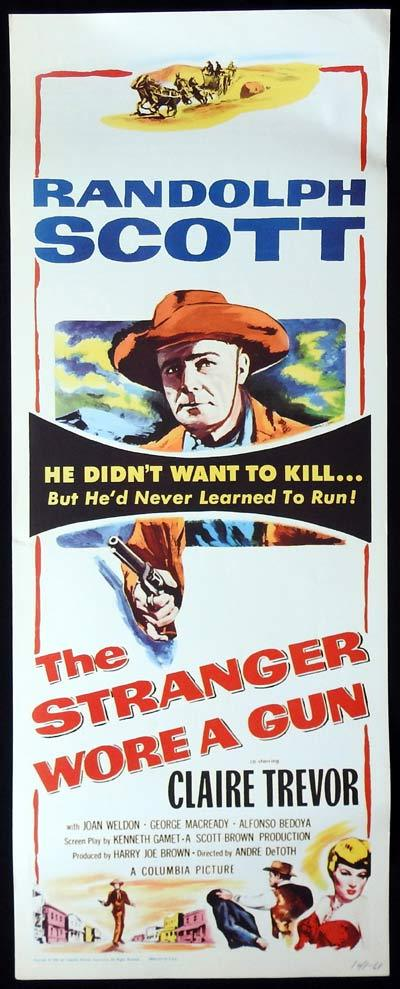 THE STRANGER WORE A GUN US Insert Movie Poster Randolph Scott