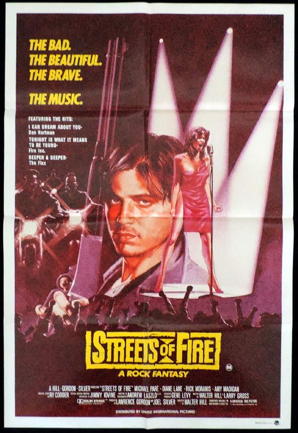 STREETS OF FIRE One Sheet Movie Poster Michael Pare Walter ... 90s Print