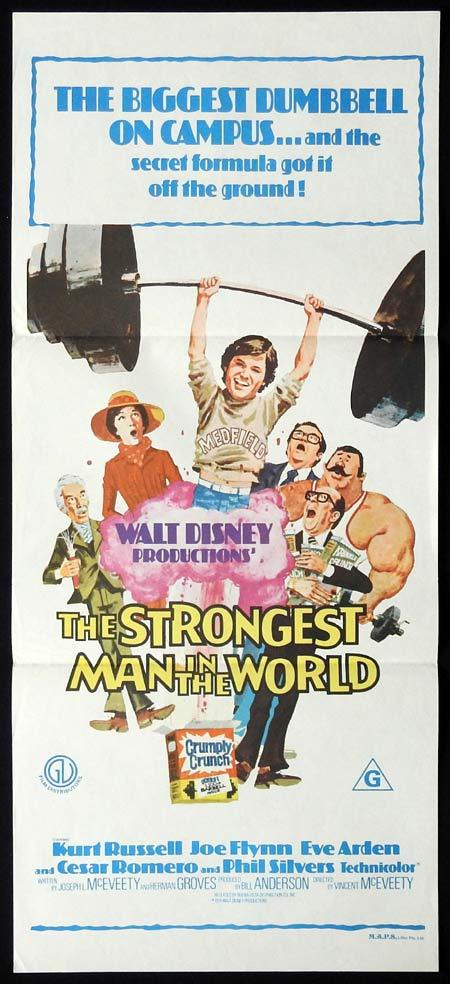 THE STRONGEST MAN IN THE WORLD Rare Original Daybill Movie Poster Kurt Russell
