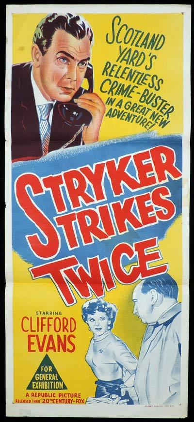 STRYKER STRIKES TWICE Daybill Movie Poster Scotland Yard Film Noir CLifford Evans