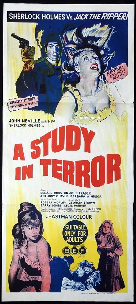 A STUDY IN TERROR Original Daybill Movie poster Sherlock Holmes John Neville