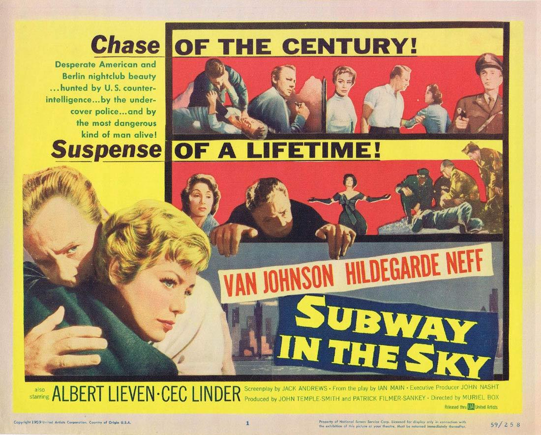 SUBWAY IN THE SKY Title Lobby Card Van Johnson Hildegard Knef