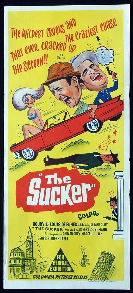 THE SUCKER Original Daybill Movie Poster Bourvil Louis de Funè