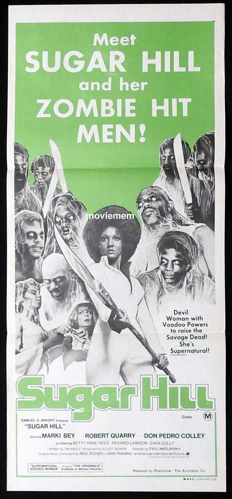 SUGAR HILL Original Daybill Movie Poster Marki Bey Zombie Hit Men