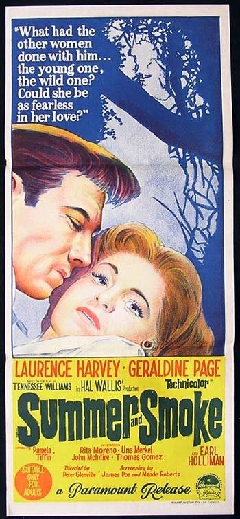SUMMER AND SMOKE daybill Movie poster Laurence Harvey Geraldine Page Michael Caine