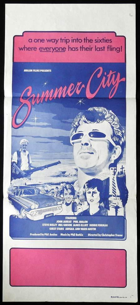 SUMMER CITY Daybill Movie Poster Mel Gibson John Jarratt Phil Avalon