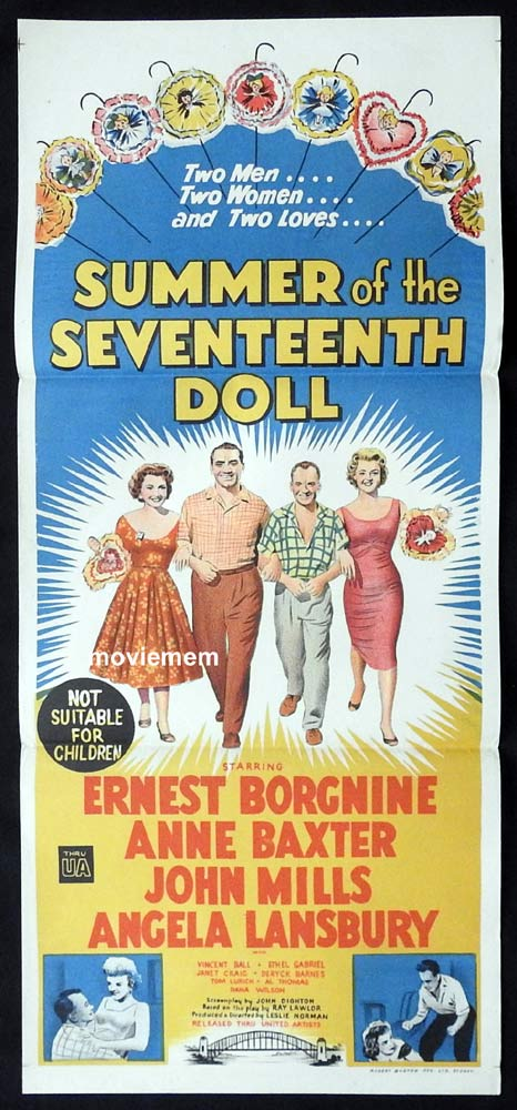 SUMMER OF THE SEVENTEENTH DOLL Original Daybill Movie Poster  Ernest Borgnine