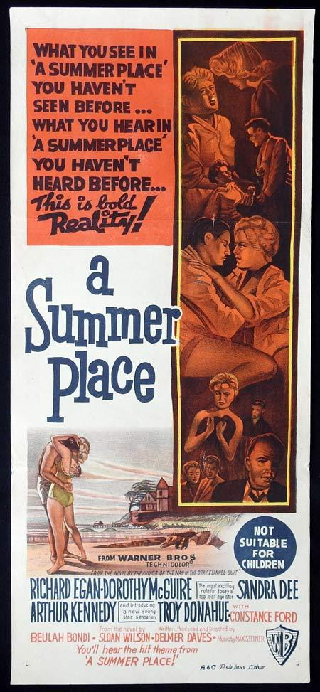 A SUMMER PLACE Original Daybill Movie Poster Dorothy McGuire Richard Egan
