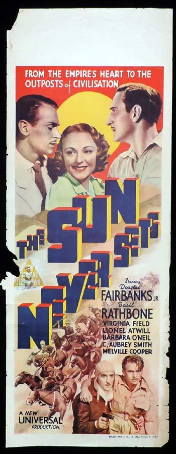 THE SUN NEVER SETS Long Daybill Movie poster 1939 Basil Rathbone Douglas Fairbanks