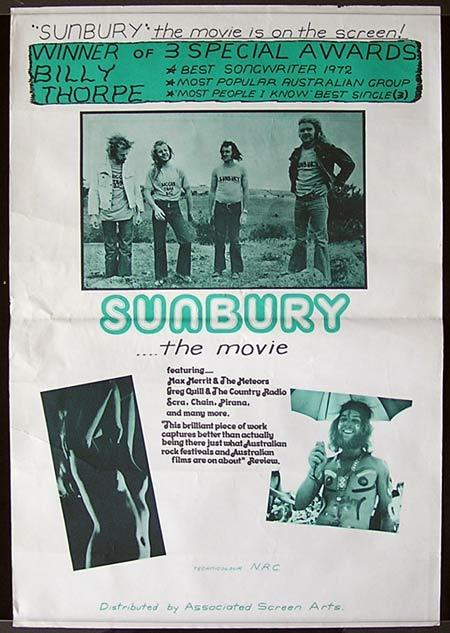 SUNBURY THE MOVIE Original Australian Movie poster BILLY THORPE poster