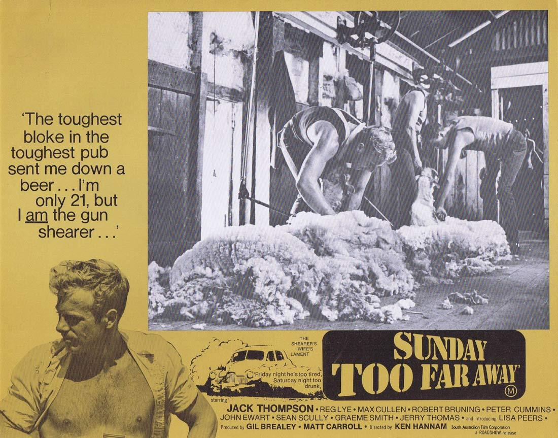 SUNDAY TOO FAR AWAY Original Lobby Card 7 1975 Jack Thompson Shearing
