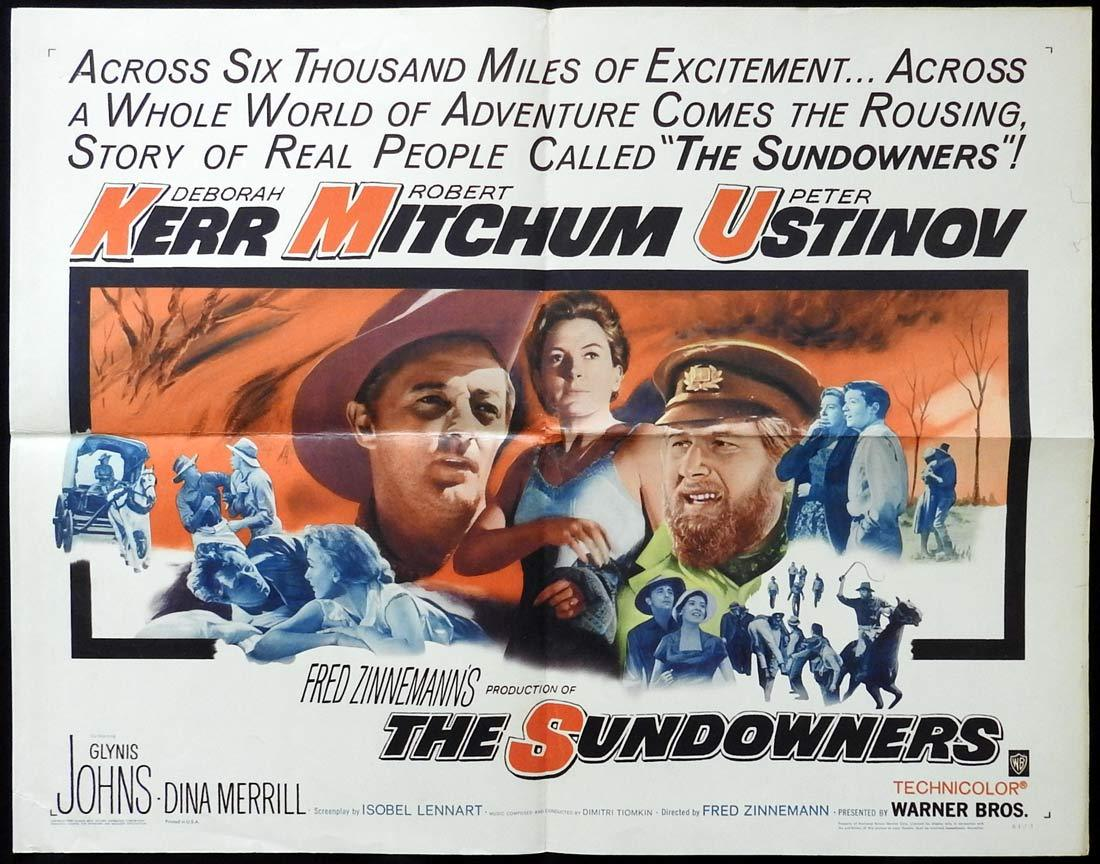 THE SUNDOWNERS Movie Poster Deborah Kerr Robert Mitchum Peter Ustinov US Half Sheet