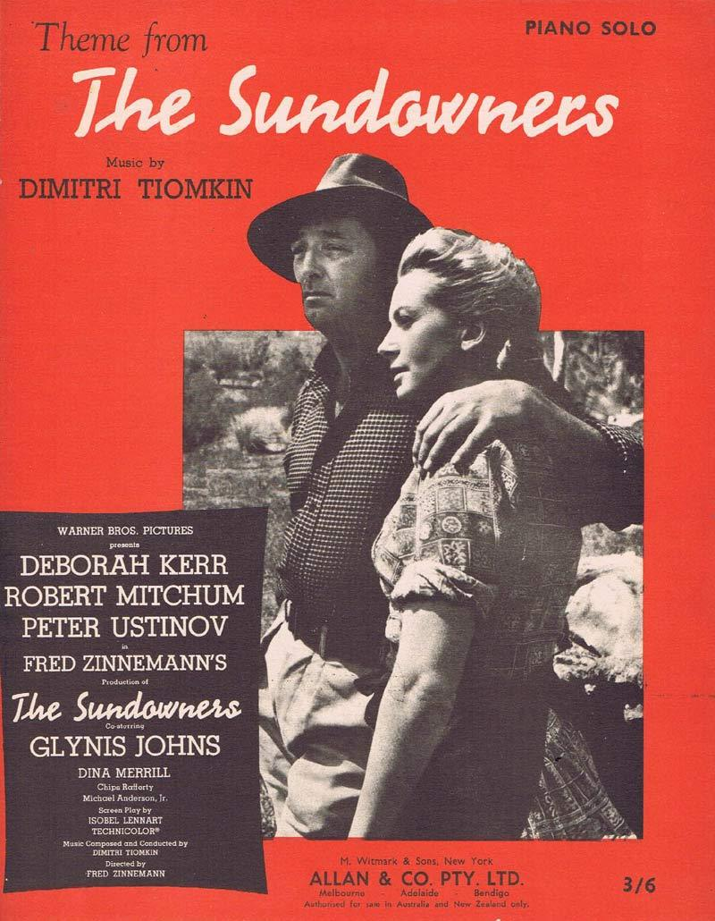 THE SUNDOWNERS Original Sheet Music Robert Mitchum Dimitri Tiomkin