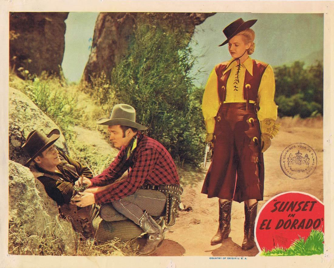 SUNSET IN EL DORADO Original Lobby Card 3 Roy Rogers Smiley Burnette Roy Rogers Dale Evans