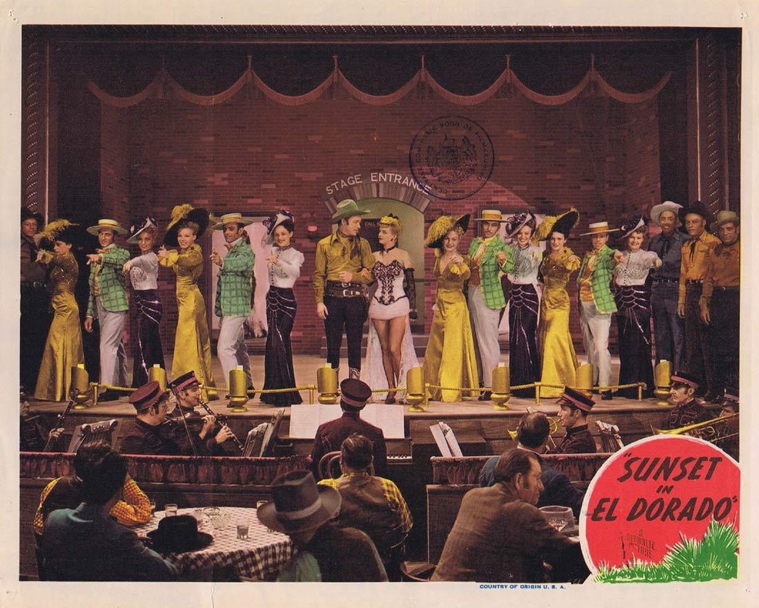 SUNSET IN EL DORADO Original Lobby Card 2 Roy Rogers Smiley Burnette Roy Rogers Dale Evans