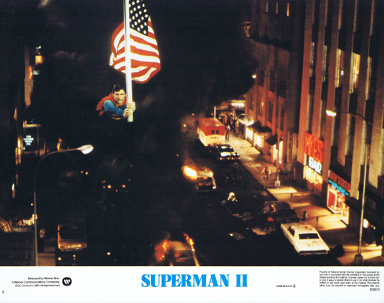 SUPERMAN II 1980 Christopher Reeve ORIGINAL US Lobby Card 8 Stars and Stripes
