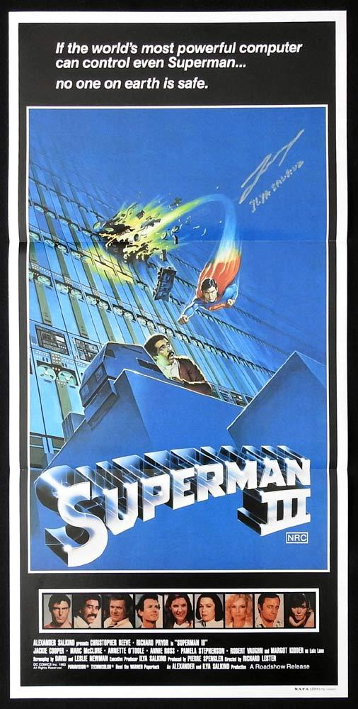 SUPERMAN III Original Daybill Movie Poster ILYA SALKIND Autograph