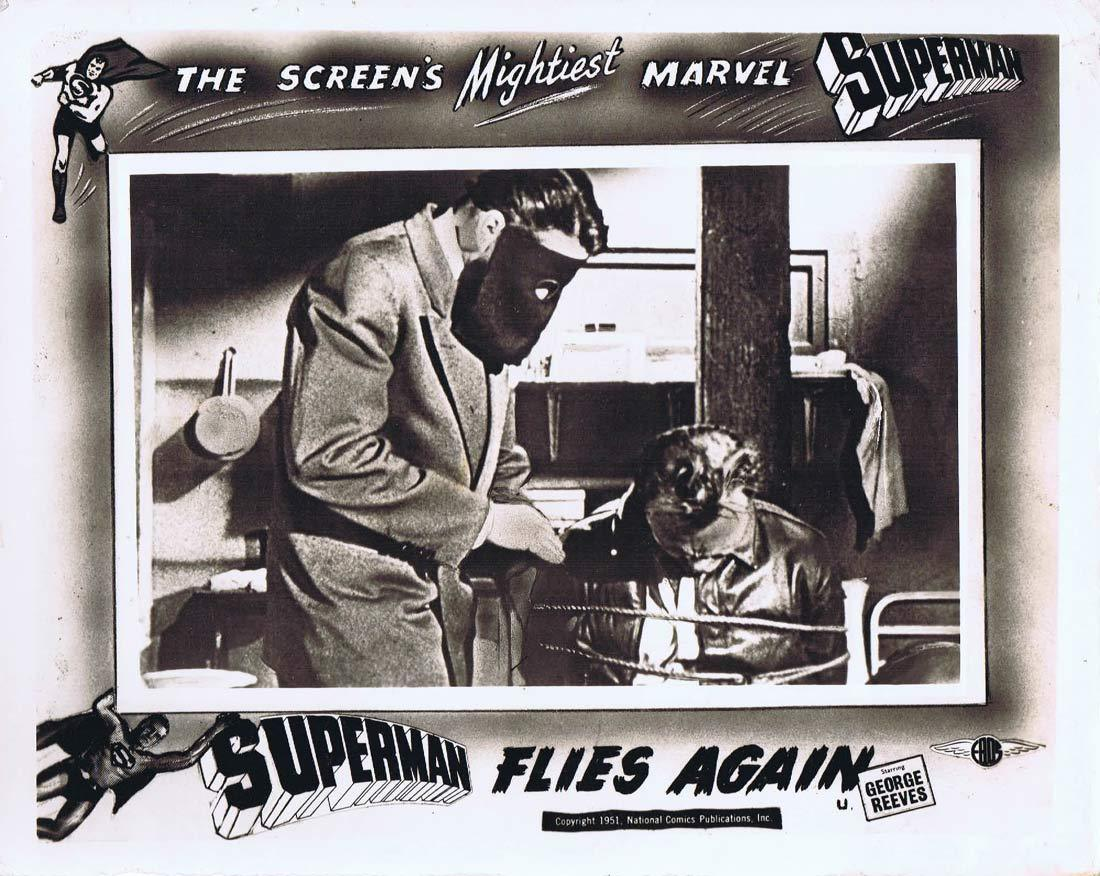 SUPERMAN FLIES AGAIN Original English Front of House Card George Reeves