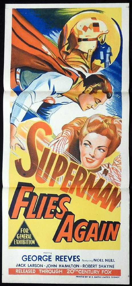 SUPERMAN FLIES AGAIN Original Daybill Movie Poster George Reeves