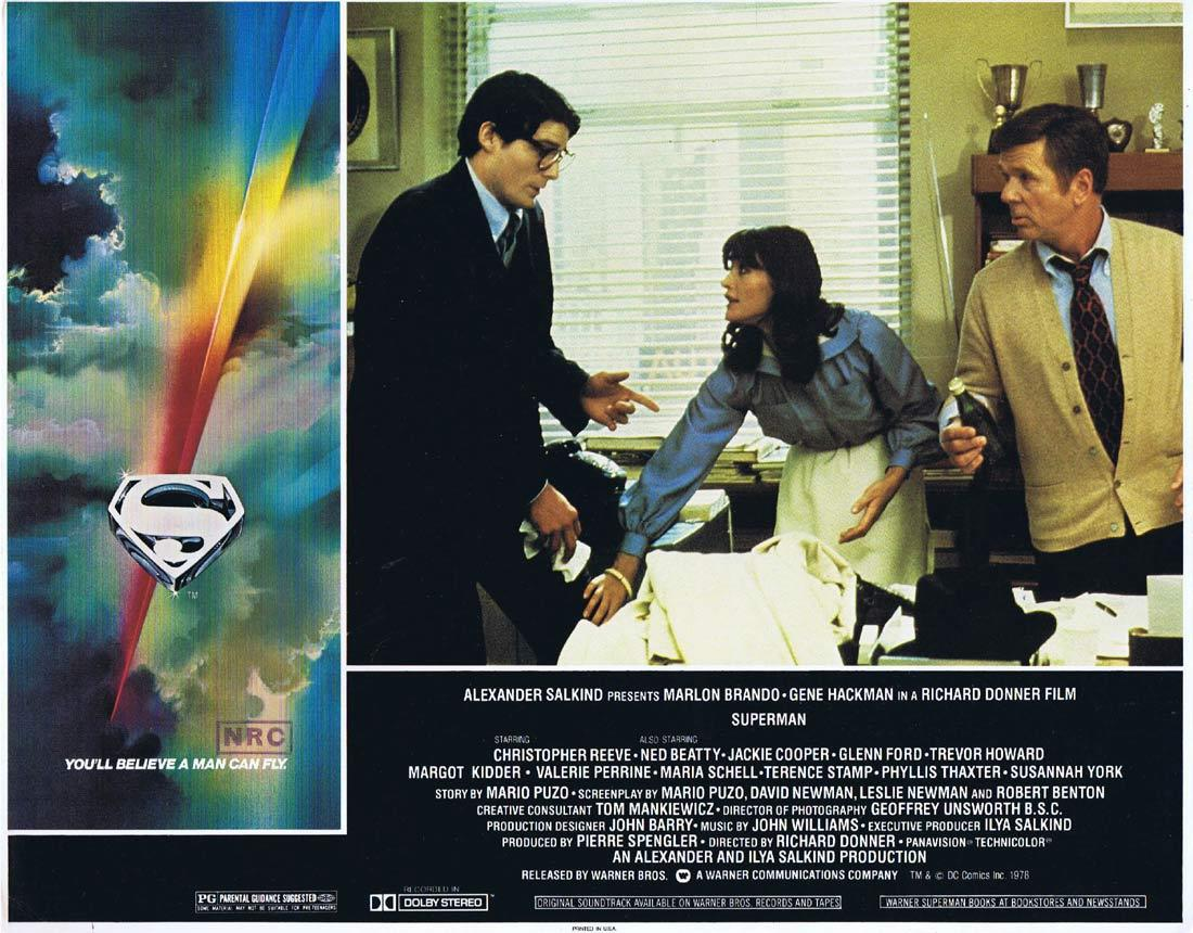 SUPERMAN Original Lobby Card 3 Christopher Reeve Margot Kidder Gene Hackman
