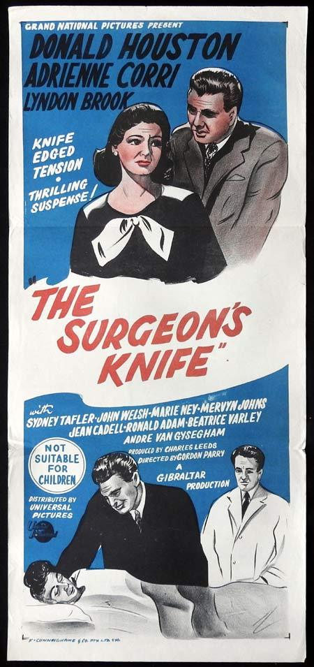 THE SURGEONS KNIFE Original Daybill Movie Poster Donald Houston Adrienne Corri
