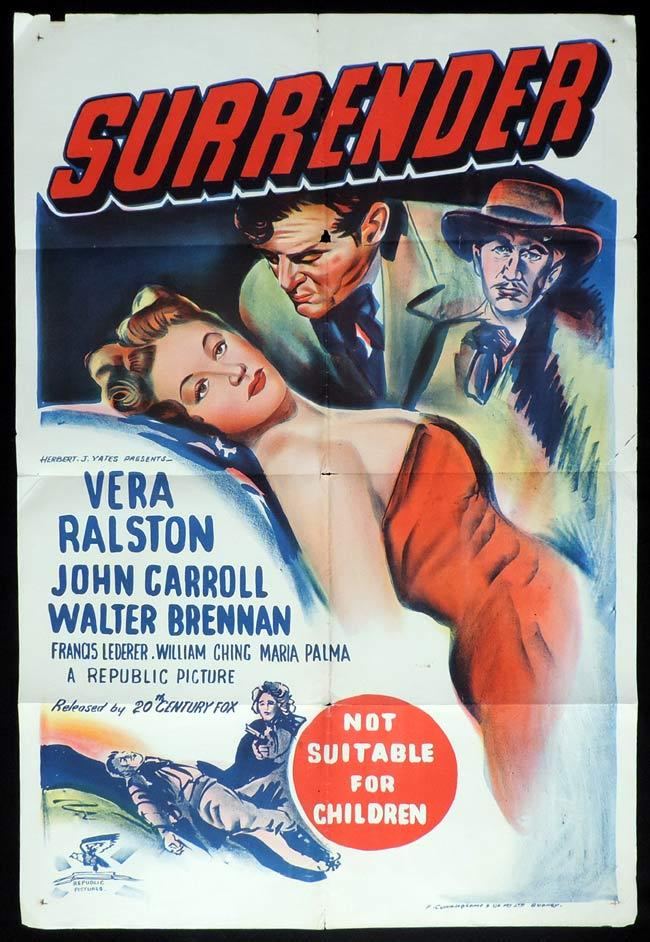 SURRENDER One Sheet Movie Poster Walter Brennan Vera Ralston