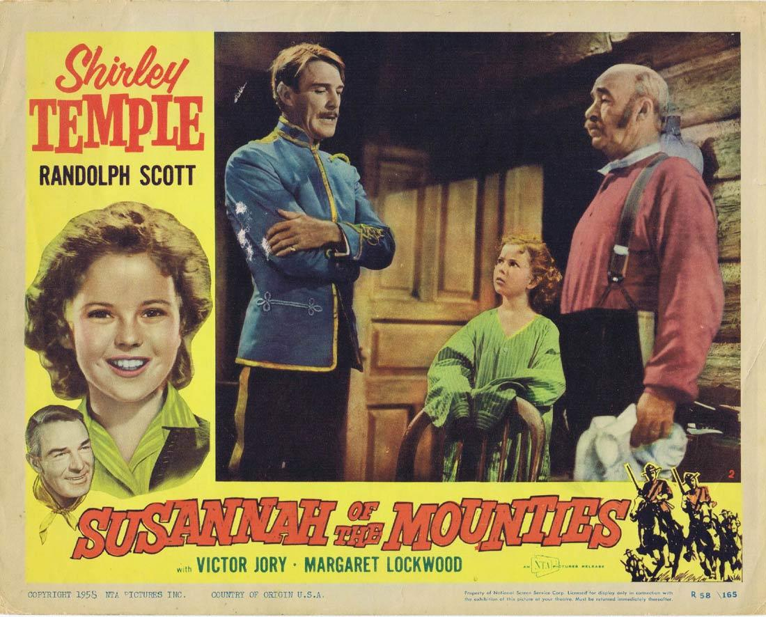 SUSANNAH OF THE MOUNTIES Vintage Lobby Card Shirley Temple Randolph Scott Margaret Lockwood 1958r
