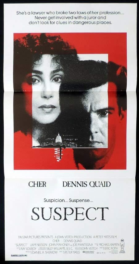 SUSPECT Original Daybill Movie Poster CHER Dennis Quaid