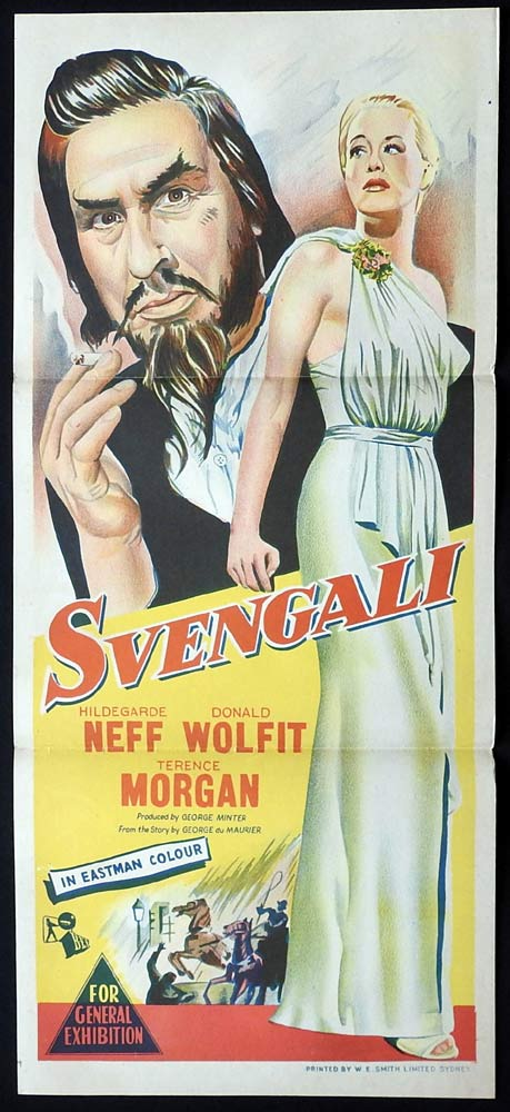 SVENGALI Original Daybill Movie Poster Donald Wolfit Hildegard Knef