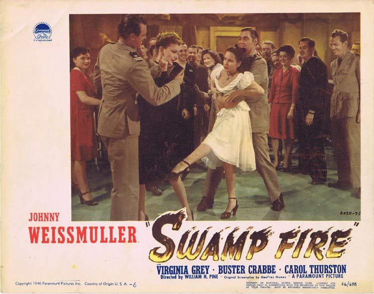 SWAMP FIRE Lobby Card 6 Johnny Weissmuller Buster Crabbe